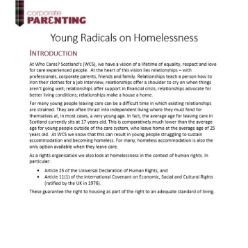 The Young Radicals Homelessness Report