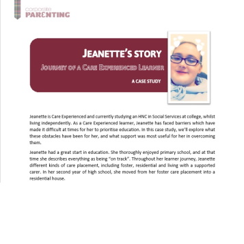 Care Experienced Learners – Jeanette's Story